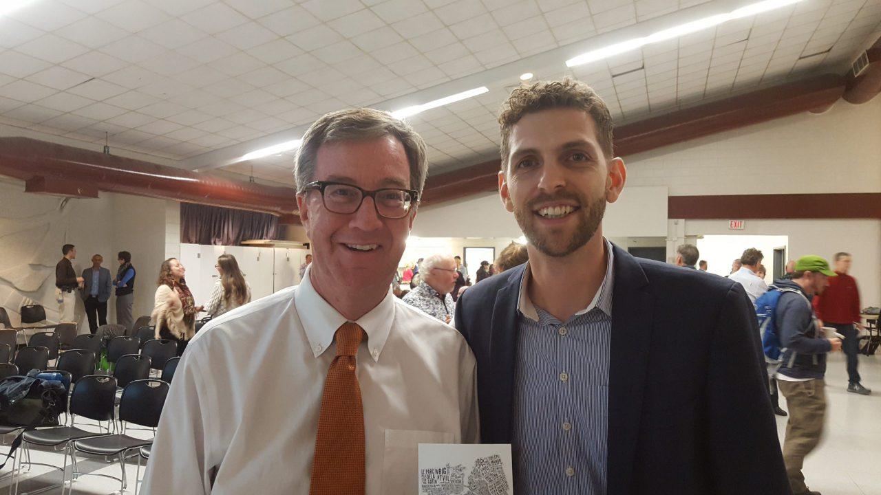 Mayor Jim Watson with BikeOttawa President Gareth Davies