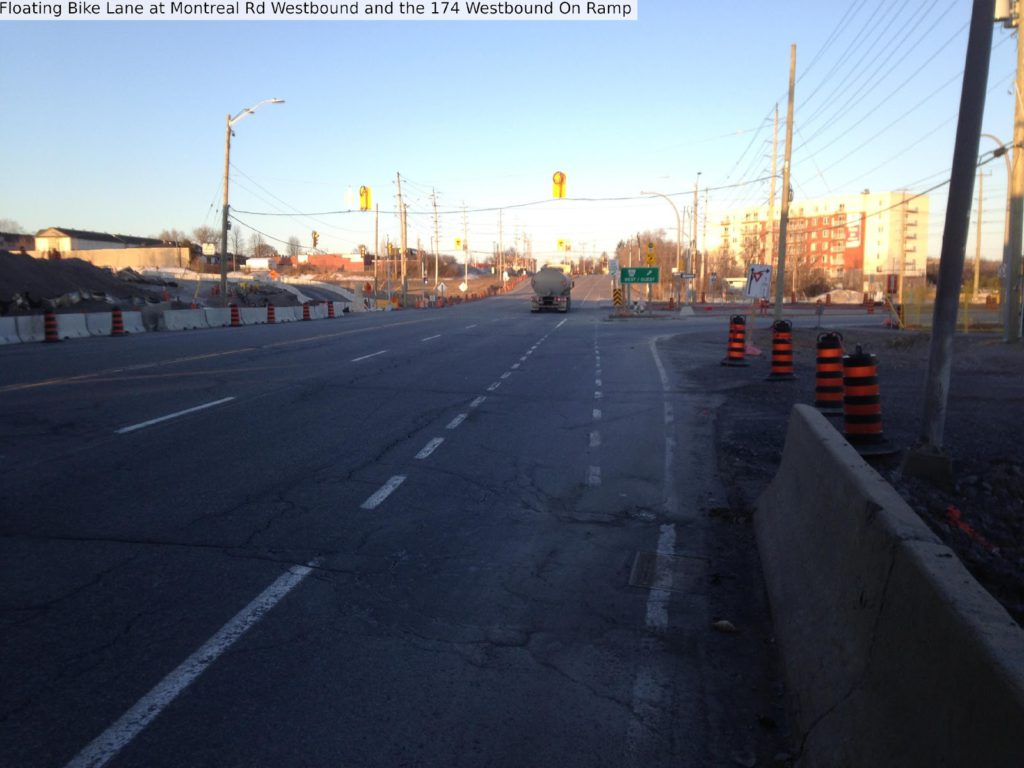 Floating bike lane at Montreal Rd westbound and the 174 westbound onramp.