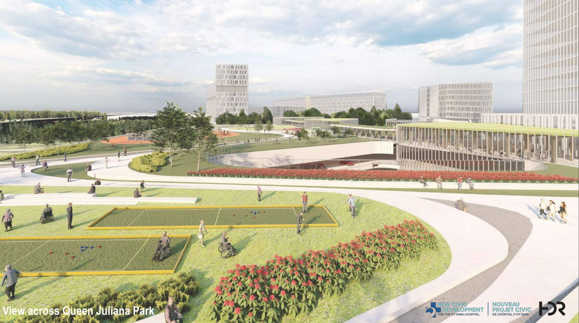 Rendering of the view of the new Civid Hospital Campus