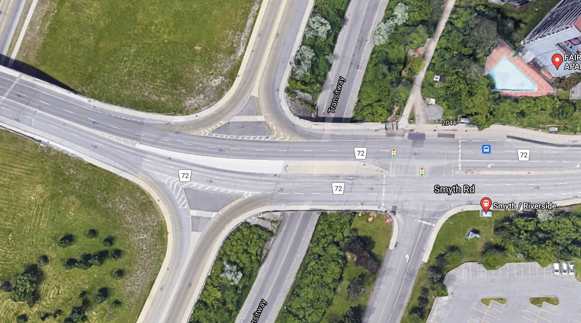 Google map screenshot of the satellite image of Smyth and Riverside